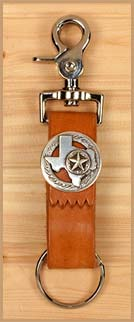 Leather Belt Key Ring with State of Texas Concho and Star Brand